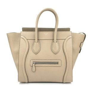 Celine Mini Luggage Drummed Tote Ladies Bag Beige